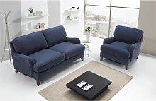 Sofá 2 plazas + sillón MOANDA de tela - Azul