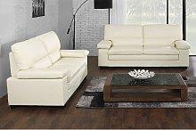 Sofá 3+2 plazas de piel de búfalo MIMAS - Blanco