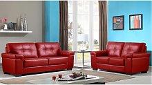Sofá 3+2 plazas de piel HAZEL - Rojo