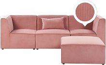 Sofá 3 plazas de pana con reposapiés rosa LEMVIG