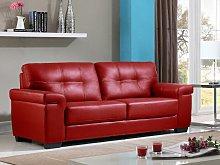 Sofá 3 plazas de piel HAZEL - Rojo