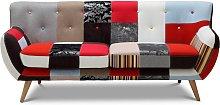Sofá 3 plazas de tela Patchwork SERTI - Tonos