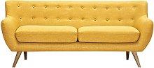 Sofá 3 plazas de tela SERTI - Amarillo miel con