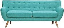 Sofá 3 plazas de tela SERTI - Azul turquesa con