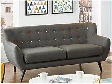 Sofá 3 plazas de tela SERTI - Gris antracita con