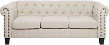Sofá 3 plazas tapizado beige CHESTERFIELD