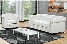 Sofá 3 plazas y sillón CHESTERFIELD - Piel