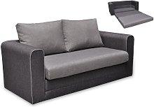 Sofá cama 2 plazas de tela DANUBE - Gris claro y