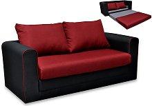 Sofá cama 2 plazas de tela DANUBE - Negro y Rojo