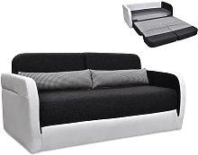 Sofá cama 2 plazas de tela y piel sintética VILO