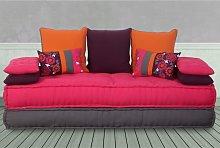 Sofá cama 3 plazas de tela AUSTEN - Fucsia,