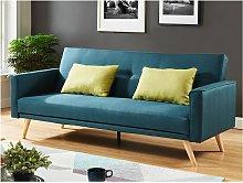 Sofá cama 3 plazas de tela DARVEL - Azul pato con