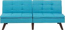 Sofá cama 3 plazas tapizado azul turquesa RONNE