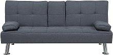 Sofá cama 3 plazas tapizado gris oscuro ROXEN
