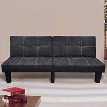 Sofá cama ajustable de tela negro - Negro