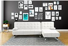 Sofá-cama chaise-longue AROA XL blanco polipiel 4