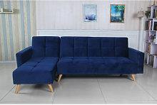 Sofá cama chaise longue Marky azul terciopelo