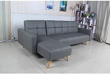 Sofá cama chaise longue Marky gris poli-piel