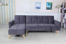 Sofá cama chaise longue Marky gris terciopelo