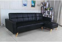 Sofá cama chaise longue Marky negro poli piel