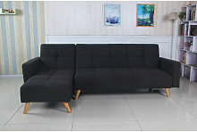 Sofá cama chaise longue Marky negro tela diseño