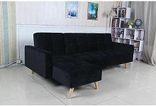 Sofá cama chaise longue Marky negro terciopelo