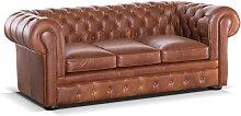 Sofá cama Chesterfield 3 plazas 100% piel LONDRES