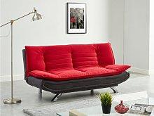 Sofá cama clic-clac tela DEMIDO - Rojo y gris