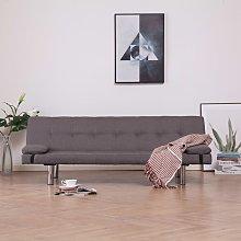 sofá cama con dos almohadas de poliéster color