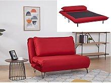 Sofá cama de 2 plazas de tela LOOF - Rojo