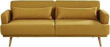 Sofá-cama de 3 plazas amarillo mostaza