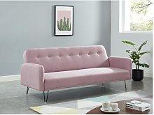 Sofá cama de 3 plazas de tela TESS - Rosa