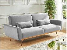 Sofá cama de 3 plazas de terciopelo LAUNEI - Gris