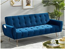 Sofá cama de 3 plazas de terciopelo POLANI - Azul