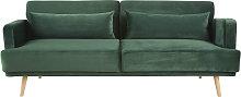 Sofá cama de 3 plazas de terciopelo verde