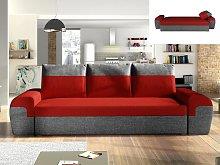 Sofá-cama de 3 plazas GABY de tela - Bicolor rojo