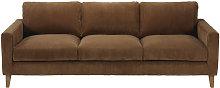 Sofá cama de 4 plazas de pana marrón