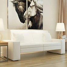 Sofá cama de cuero artificial blanco - Blanco
