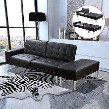 Sofá cama de cuero artificial negro - Negro