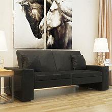 Sofá cama de cuero artificial negro Vida XL