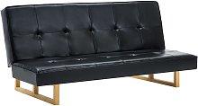 Sofá cama de cuero sintético negro - Negro