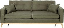 Sofá-cama de estilo escandinavo de 3 plazas verde