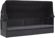 Sofa cama de jardin con toldo ratan sintetico negro
