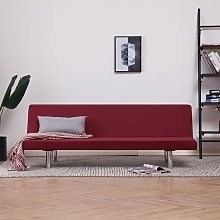 Sofá cama de poliéster color vino tinto - Rojo