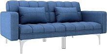 Sofá cama de tela azul - Azul