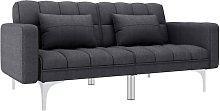 Sofá cama de tela gris oscuro - Gris