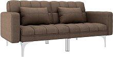 Sofá cama de tela marrón - Marrón