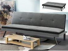 Sofá-cama de tela SKALA - Gris y banda negra