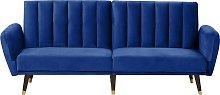 Sofá cama de terciopelo azul oscuro VIMMERBY