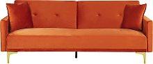 Sofá cama de terciopelo naranja LUCAN